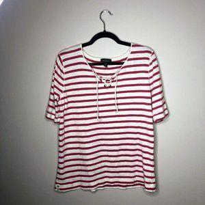 Lauren Ralph Lauren Red & White Striped Short  XL